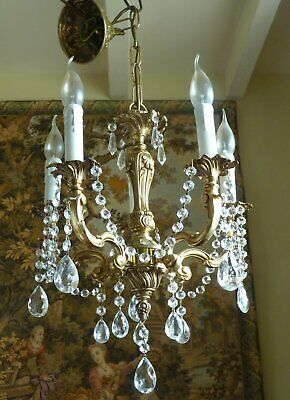 Vintage French Brass Chandelier Crystal drops 5 arm Ceiling Light Heavy quality
