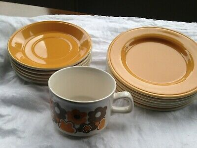 Original Staffordshire Potteries 70s tea set. Yellow with patterned cups.
