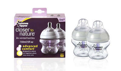 TOMMEE TIPPEE CLOSER TO NATURE ADVANCED COMFORT BOTTLES 2 x 150ml - BRAND NEW