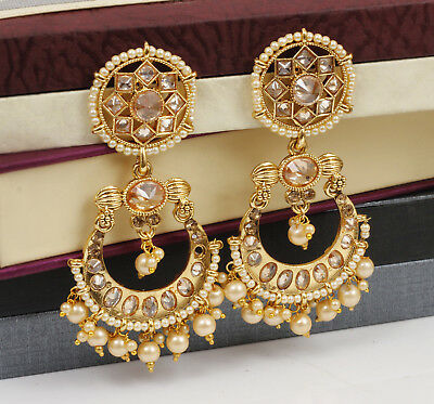 New Indian Ethnic Bollywood Gold Tone Jhumka Jhumki Women Tassel Earring Jewelry