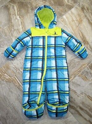 f90b232d3 NWOT Rugged Bear Boys 18M Plaid Snowsuit Pram Hand & Foot Covers Fleece  Lining