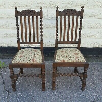 Antique Vintage Set of 2 Chairs with Barley Twist and Carving