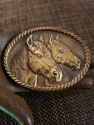 Vintage 1970s Horse Heads BTS Solid BRASS Belt Buckle / Made in U.S.A