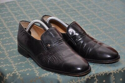LOTUS mens Black leather loafer shoes size 9, UK 8.5F/US 9D/EU 42.5