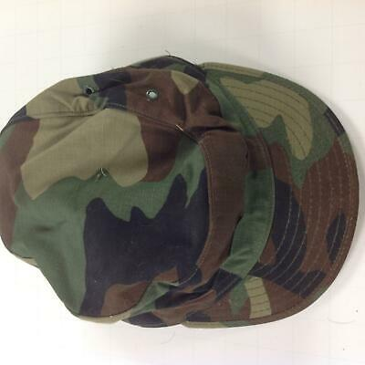 US Army Issue Vintage Used Woodland BDU Camouflage Hot Weather Cap Size 7 1/8 #2
