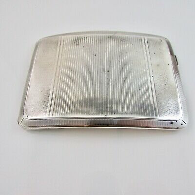 Antique Sterling Silver Curved Cigarette Case Engine Turned Chester 1927 - 138 g