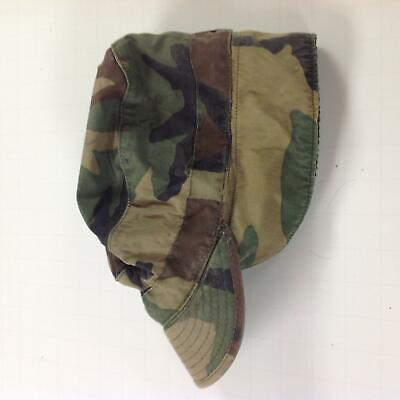 US Army Issue Vintage Used Woodland BDU Camo Pattern Cap Size 7 1/8 w/Ear Flaps