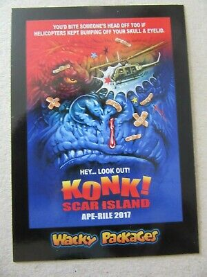 Kong: Skull Island Sticker, Wacky Packages Go To The Movies, Topps, Konk Card