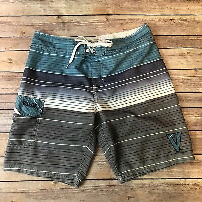 875d4717d4 Valor Boardshorts Swim Men's Swim Trunks Board Shorts Blue Gray Stripes Size  32