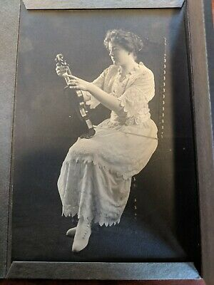 Victorian Woman and Violin Antique Musician Photograph Denver Early 1900's
