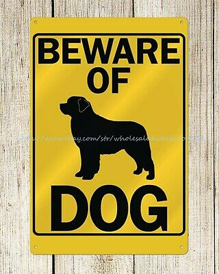 US SELLER- reproduction wall plaques beware of dog metal tin sign