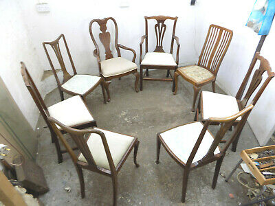 eight,edwardian,mahogany,harlequin,dining chairs,6 chairs,2 carvers,dining room