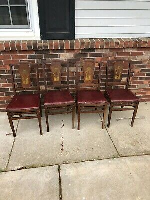 4 Vtg Antique Folding Chairs Louis Rastetter Sons Solid Kumfort Set RARE