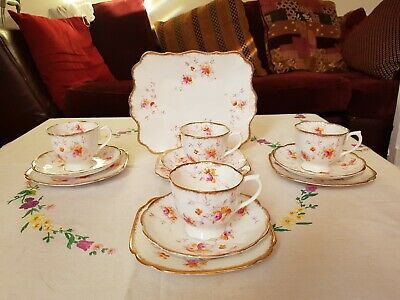 Vintage Royal Albert bone china hand painted teacups saucers trios & cake plate