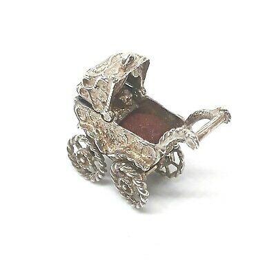 RARE Antique Victorian Ornate Moving Baby Pram Stroller Sterling Silver Charm
