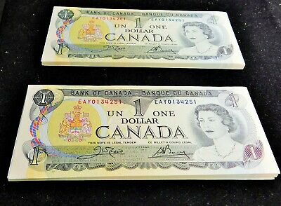 One Hundred Consecutive 1973 Canadian One Dollar (1.00) Bills