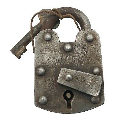 Vintage Padlock & Skeleton Key Working Old Iron Rusty Antique Prison Lock PL01