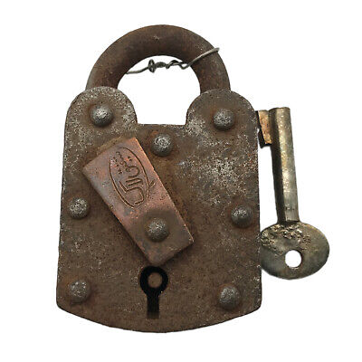 Vintage Padlock & Skeleton Key Working Old Iron Rusty Antique Prison Lock PL02