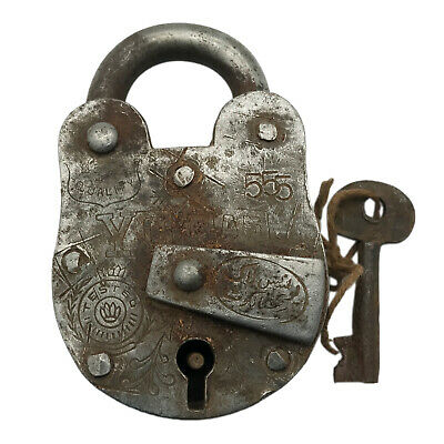 Vintage Padlock & Skeleton Key Working Old Iron Rusty Antique Prison Lock PL11