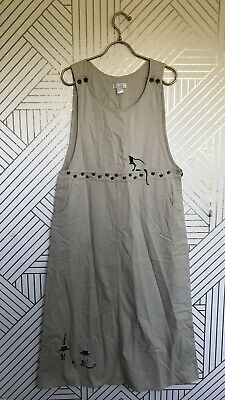 Christopher & Banks Womens Ivory Overall Dress Cat Embroidered Maxi Jumper Sz M