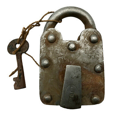 Vintage Padlock & Skeleton Key Working Old Iron Rusty Antique Prison Lock PL14