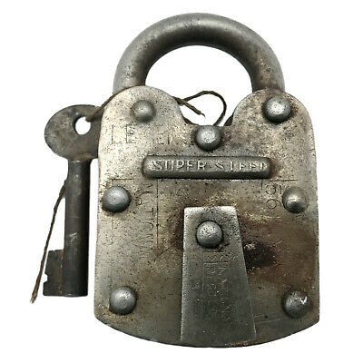 Vintage Padlock & Skeleton Key Working Old Steel & Brass Antique Bank Lock PL15