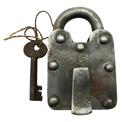 Vintage Padlock & Skeleton Key Working Old Iron Rusty Antique Prison Lock PL18