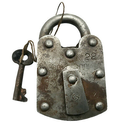 Vintage Padlock & Skeleton Key Working Old Iron Rusty Antique Prison Lock PL20