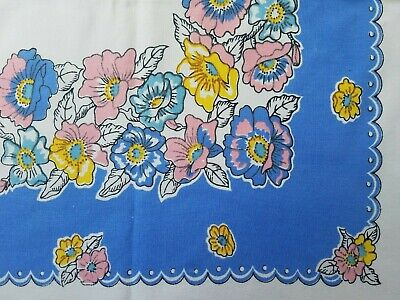 Vintage FLORAL TABLECLOTH Yellow PINK Blue PANSIES Periwinkle Border ~ 44 x 50