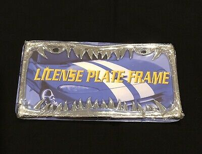 New Shark Teeth License Plate Frame Chrome Jaws  ***FREE SHIPPING***