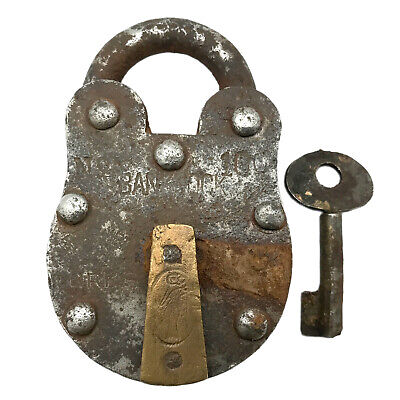 Vintage Padlock & Skeleton Key Working Old Iron & Brass Antique Bank Lock PL47