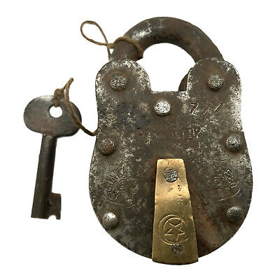 Vintage Padlock & Skeleton Key Working Old Iron & Brass Antique Bank Lock PL48