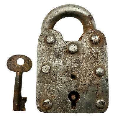 Vintage Padlock & Skeleton Key Working Old Iron Rusty Antique Prison Lock PL50