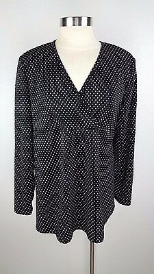 0e383aa43112 Announcements Maternity Large Black Polka Dot VNeck Long Sleeve Blouse Top  Shirt