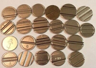 #2001 - Lot Of (22) - Various Grooved Telephone/Slot Like Tokens