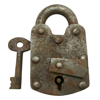 Vintage Padlock & Skeleton Key Working Old Iron Rusty Antique Prison Lock PL68