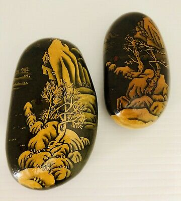 Chinese Decorative Painted Rocks Paperweight Lot Of 2