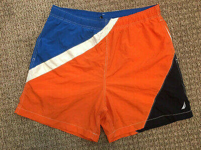 2f86e2a07d69b Vintage 90s Nautica Swim Trunks M Orange Blue White Off Yacht Shorts Sailing  USA