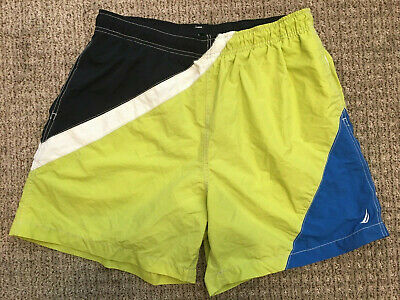 be69f81299457 Vintage 90s Nautica Swim Trunks M Lime Blue White Off Yacht Shorts Sailing  USA