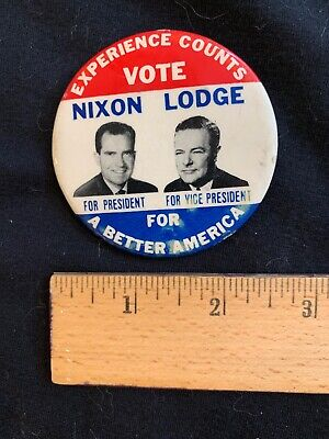 1960 Nixon and Lodge Presidential Campaign Button/ Pinback Set