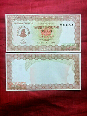 Zimbabwe $20000 20 Thousand Dollars Fy Unc 2003-5 Bearer Cheque P23F Currency