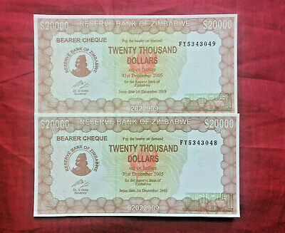 2 x ZIMBABWE $20000 20 THOUSAND DOLLARS UNC  2003-5 BEARER CHEQUE P23F CURRENCY