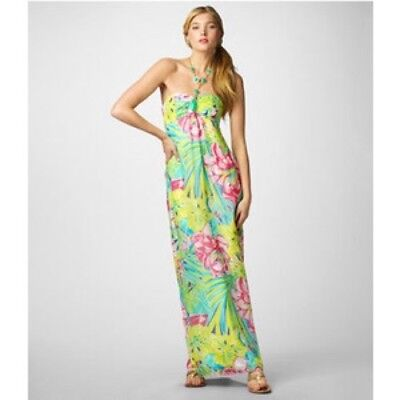 82662914bee432 NWT Rare Lilly Pulitzer Set in Stone Claudie Halter SIlk Maxi Dress Sz 2  $428