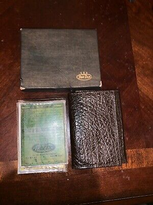 NEW Vintage TEXTAN brown Water Buffalo leather CARD WALLET Tri-FOLD W Inserts