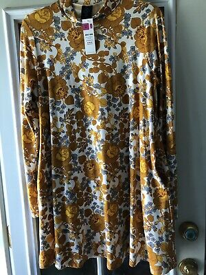 0c55f3d8a1 NEW Agnes And Dora Mock Neck Swing Tunic Long Sleeve Floral Pockets-Womens  XL