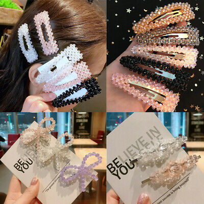 Women's Slide Snap Hair Clips Barrette Grips Hairpin Crystal Pins Accessories-
