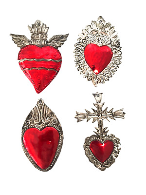 Milagros Charms - Tin Painted Sacred Heart Ornaments - Mexican Art (Set of 4) -