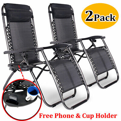 New Black Textoline Reclining Sun Lounger Outdoor Zero Gravity Folding Chair UK