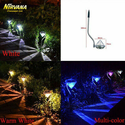 4/8PCS LED Diamond Solar Power Yard Garden Light Outdoor Path Lawn Stake Lamp