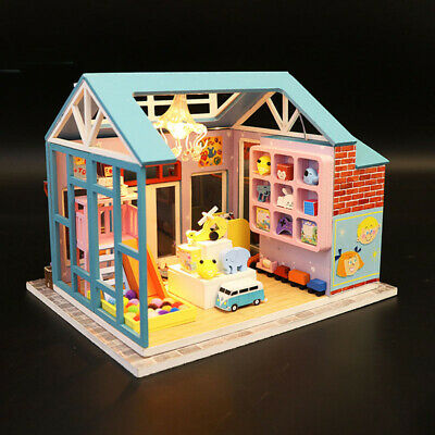 DIY Miniature Toy Store Dollhouse Wooden Furniture LED Kit Child Puzzle Toy Gift